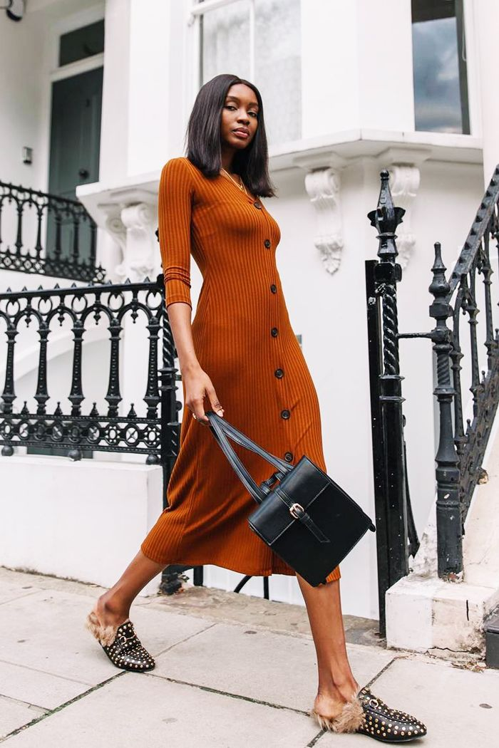 best backless loafers: Natasha Ndlovu wearing Bershka dress and Gucci loafers