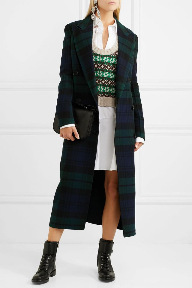 Double-breasted Tartan Wool And Cashmere-blend Coat