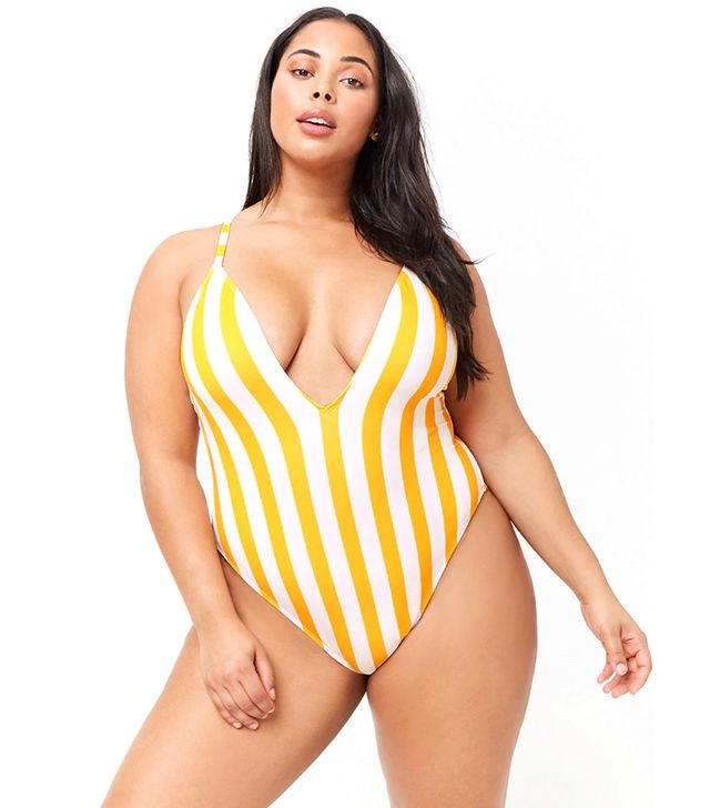 Forever 21 Striped Plunging One-Piece Swimsuit