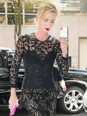 Charlize Theron Just Introduced Us to the Sheer, Lacy Corset Dress