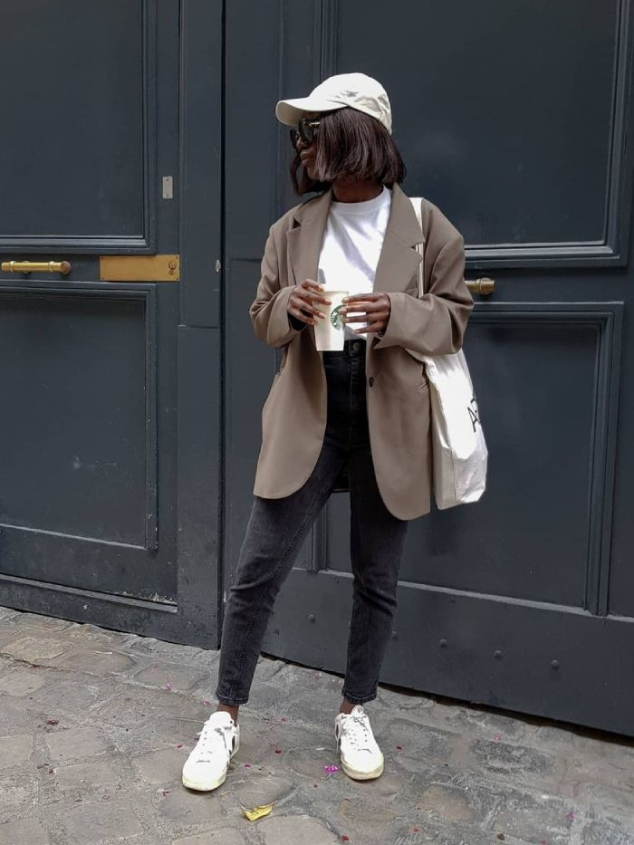 best white trainers: aida of basics touch wearing vejas