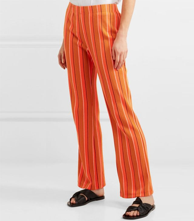 Cyrene Striped Cotton-blend Flared Pants