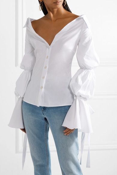 Margaret Off-the-shoulder Cotton-blend Poplin Blouse