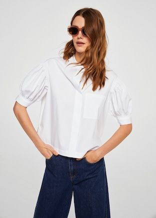 Puffed sleeves poplin shirt