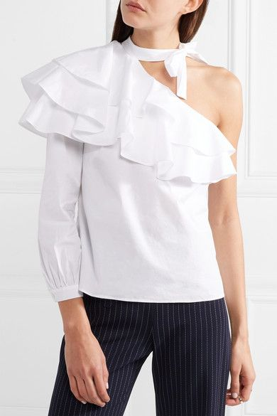 Gigi One-shoulder Ruffled Stretch-cotton Poplin Top