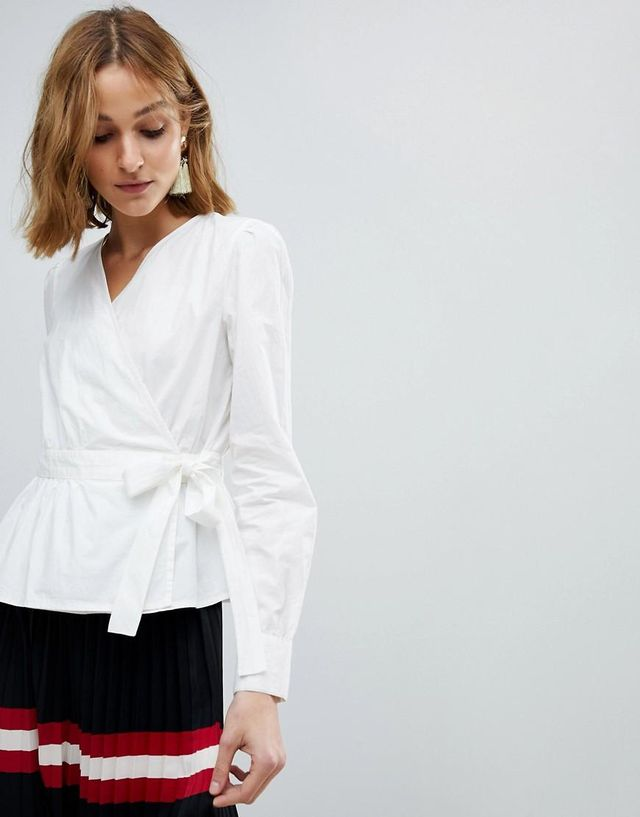 Wrap Shirt With Bubble Shoulder