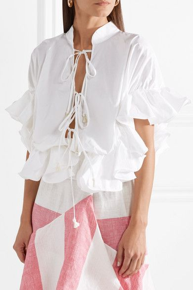 Bora Bora Ruffled Cotton-blend Poplin Blouse