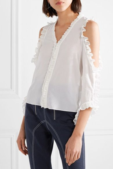 Claudette Ruffle-trimmed Cold-shoulder Stretch-silk Blouse