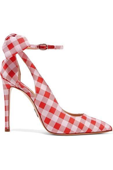 Fiona Bow-embellished Gingham Canvas Pumps