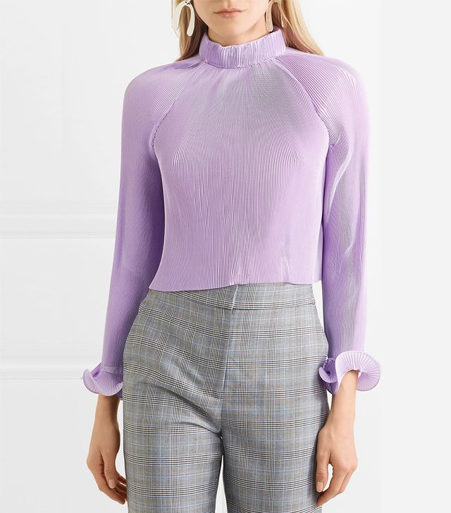 Cropped Pleated Chiffon Top