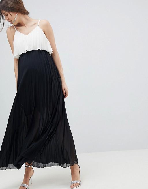 ASOS Design Maternity Crop Top Maxi Dress in Pleated Color Block