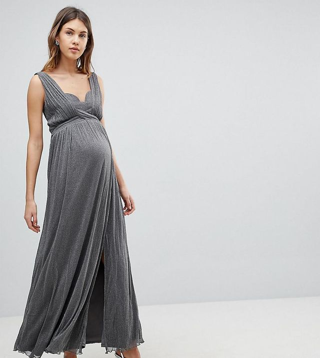 Metallic Jersey Maxi Dress With Wrap Detail