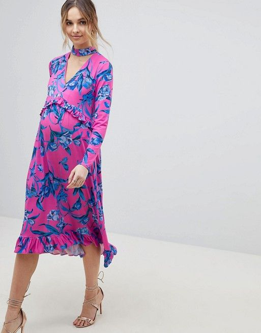 ASOS DESIGN Maternity slinky midi dress with choker neck and frill details in floral print
