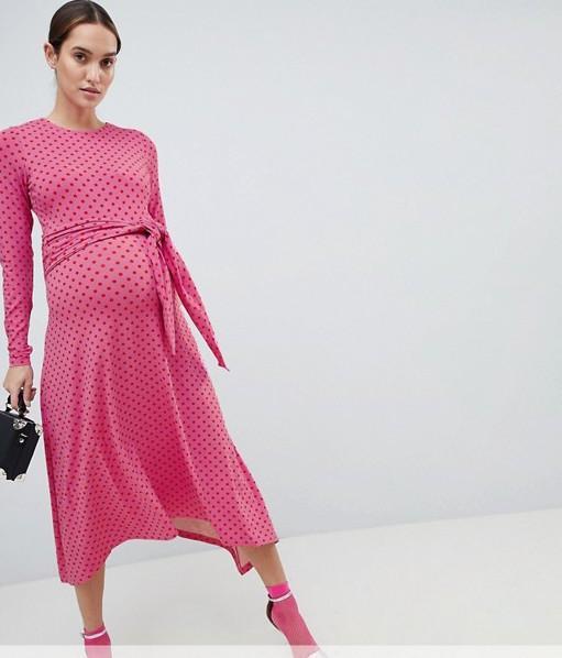 ASOS DESIGN Maternity tie front midi dress in polka dot