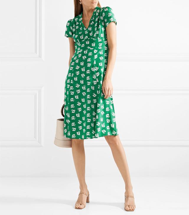 Morgan Floral-print Silk Crepe De Chine Midi Dress