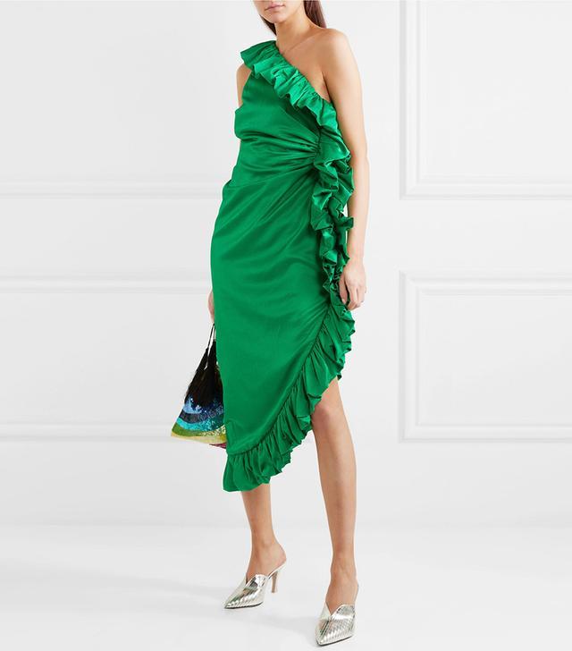 One-shoulder Ruffled Hammered Cotton-blend Satin Dress