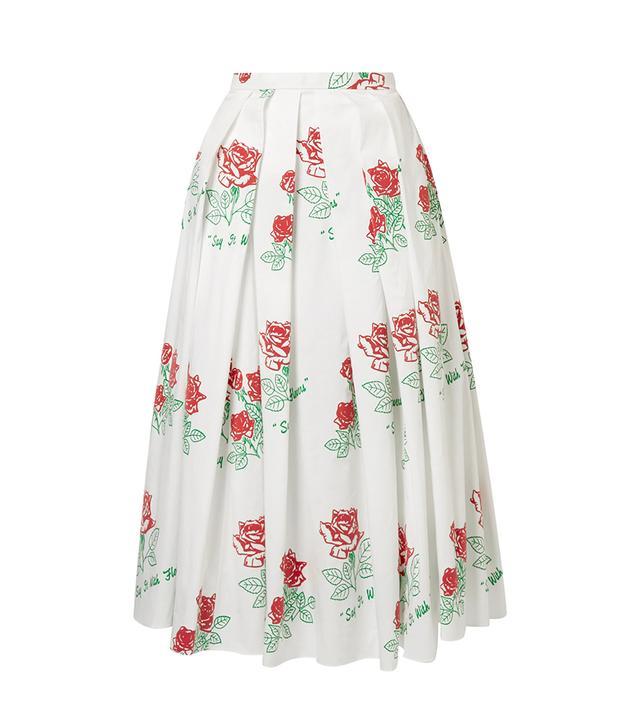 Printed Pleated Cotton-Blend Midi Skirt