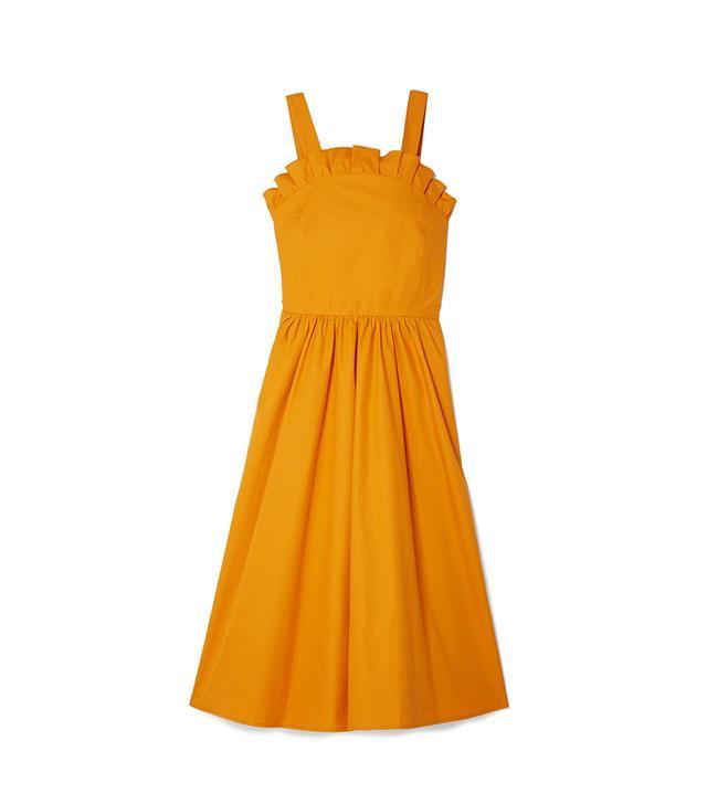 Sunrise Lace-Up Ruffled Cotton-Blend Midi Dress