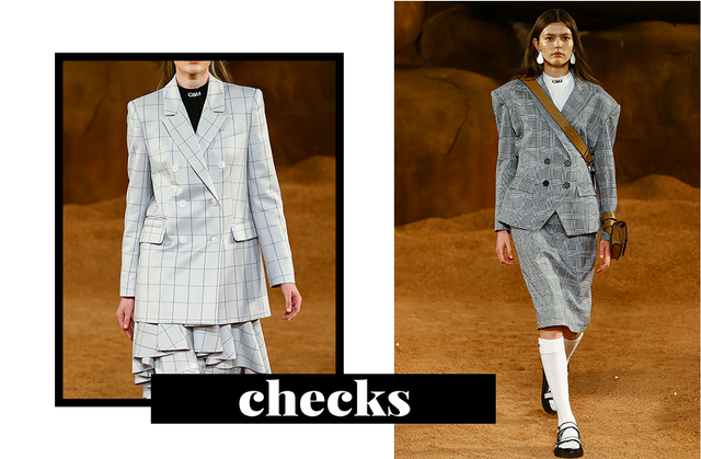Checks have been trending for a while with the infamous checked blazer, and the trend doesn't seem to be going anywhere soon. On blazers, skirts and dresses, checks are scattering the Fashion Week...