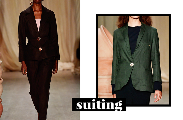 This year means business, and this trend proves it. Still going strong, suiting is replacing more traditionally-feminine frocks this season.