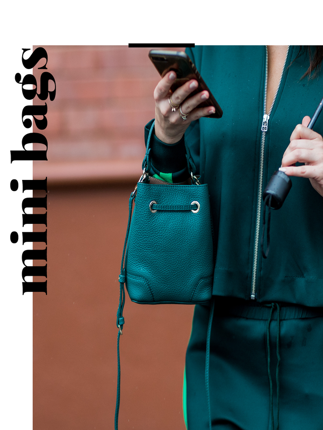 """Lately, it seems like street style is saying """"less is more"""". Especially with this micro-bag trend, with tiny bags that seem to fit nothing more than an iPhone."""