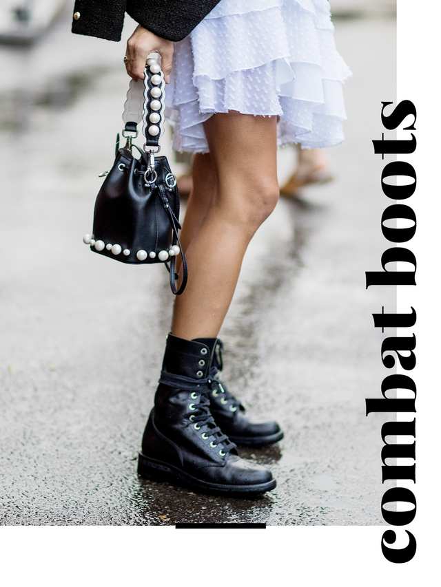 Embracing a '90s grunge feel, combat boots are back in full force this season.