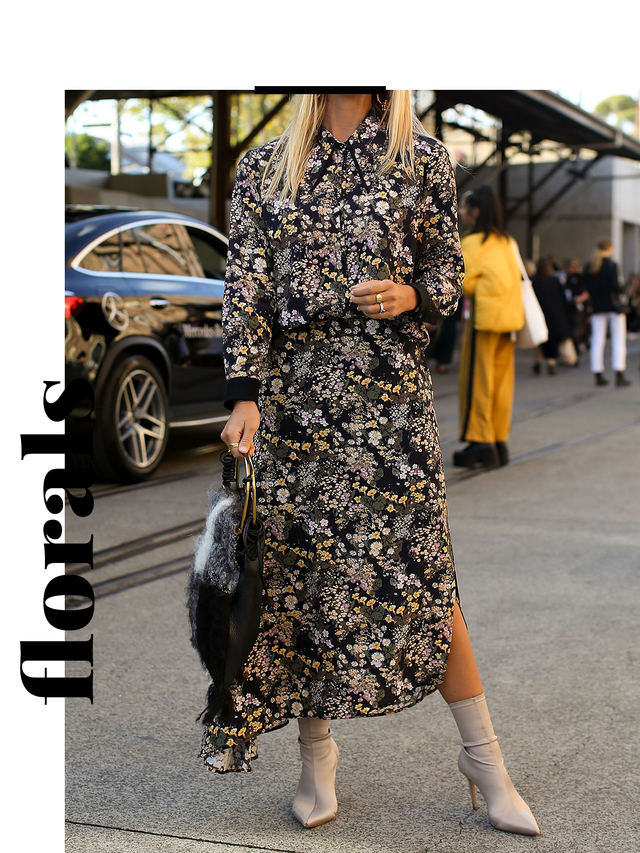 No longer reserved for spring, florals are making an appearance in street style big time this autumn. In both dark and light hues, this print is perfect for the summer-to-autumn transitional phase.