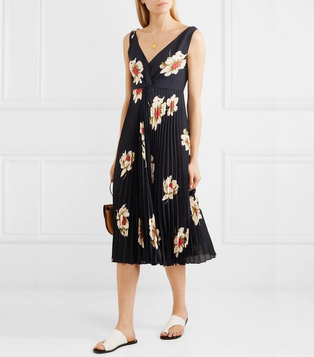 Pleated Floral-print Crepe Midi Dress