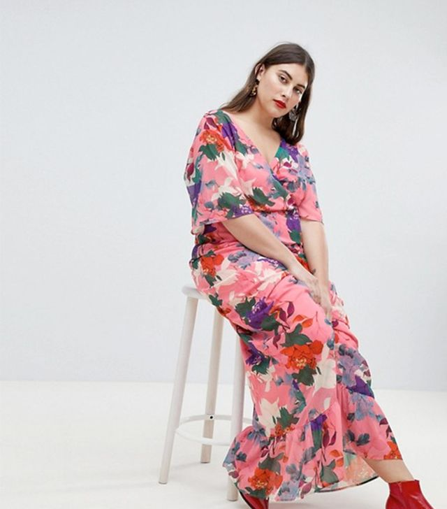 Maxi Kimono Sleeve Maxi Dress In Oversized Floral Print