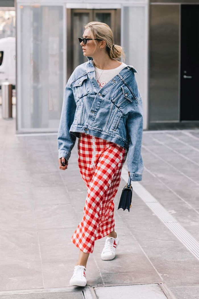 Jean jacket and gingham skirt