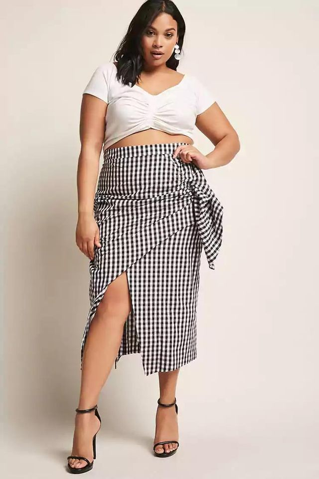 Plus Size Gingham Ruched Skirt