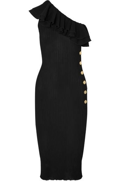 Ruffled One-shoulder Ribbed-knit Midi Dress