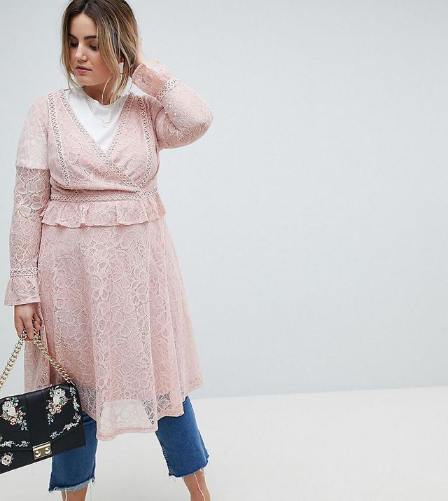 Allover Lace Wrap Front Midi Dress