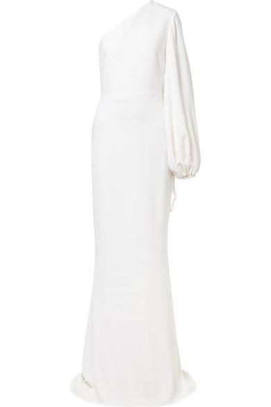 One-shoulder Stretch-cady Gown