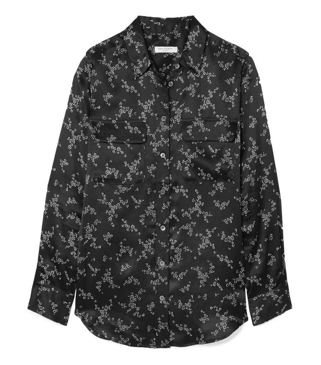 Slim Signature Printed Silk-satin Shirt