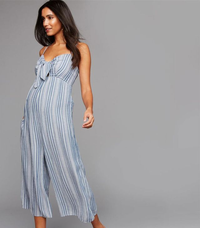 A Pea in the Pod Tie Front Maternity Jumpsuit