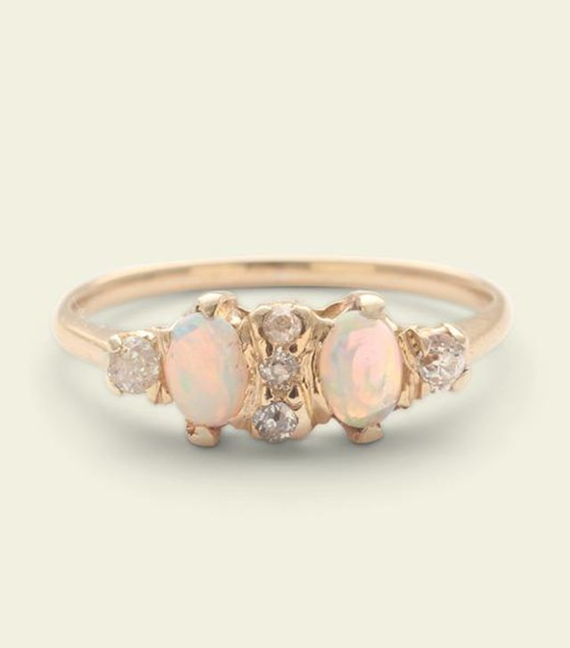 Erica Weiner Victorian Opal Toi et Moi Ring With Old Mine Cut Diamonds