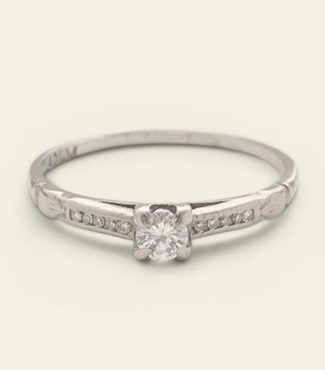 Erica Weiner 1940s Palladium .18ct Brilliant Cut Diamond Ring