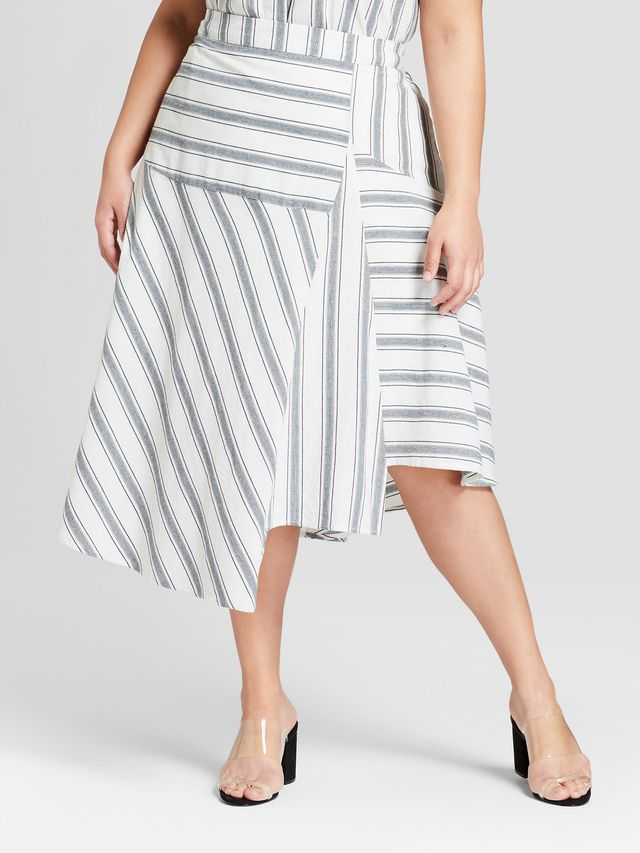 Who What Wear Collection Striped Flowy Asymmetric Midi Skirt