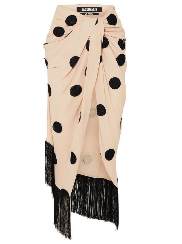 Fringed Appliquéd Crepe Midi Skirt