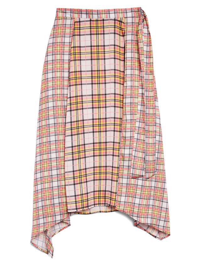 Mixed Check Midi Skirt
