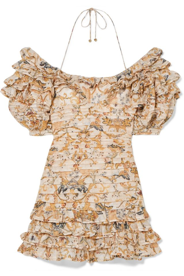 Zimmermann Off-The-Shoulder Printed Linen and Silk-Blend Mini Dress