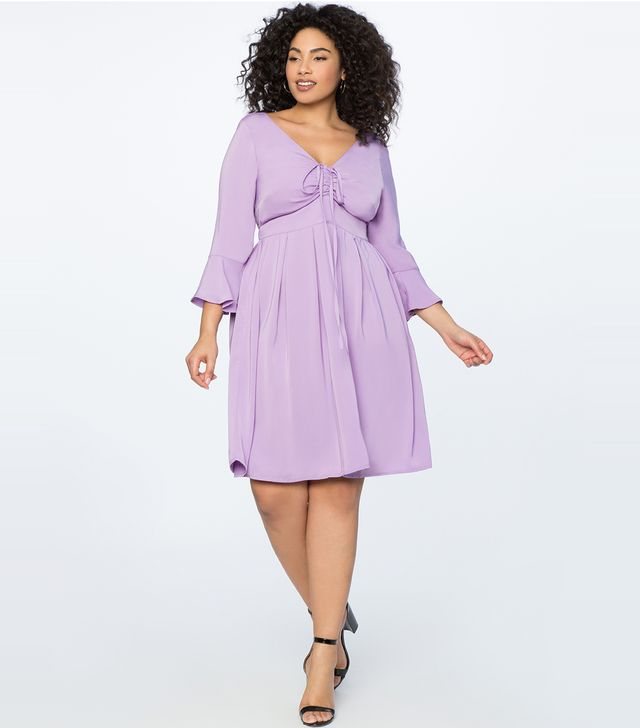 Eloquii Flare Sleeve Dress with Halter Detail