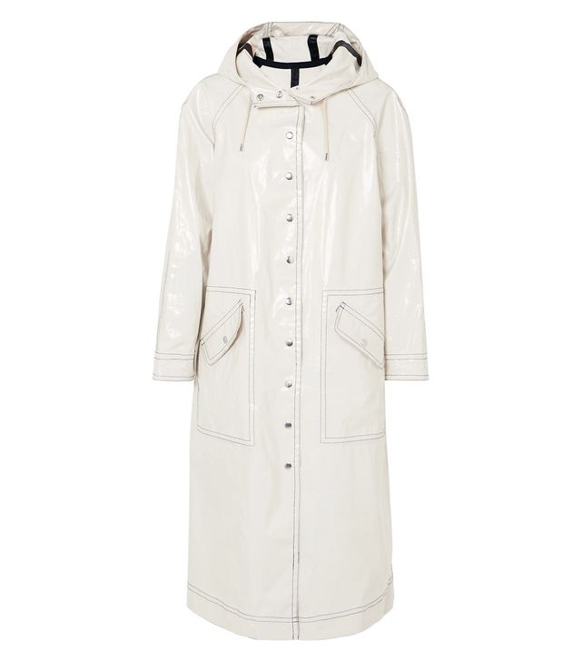 Hooded Coated Cotton-blend Trench Coat