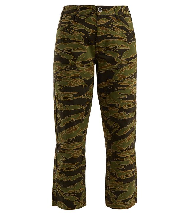 Phoebe Camouflage-Print Cotton Cropped Trousers