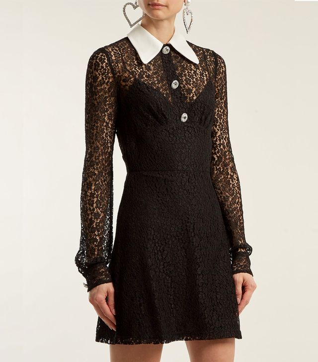 Crystal-embellished floral-lace dress