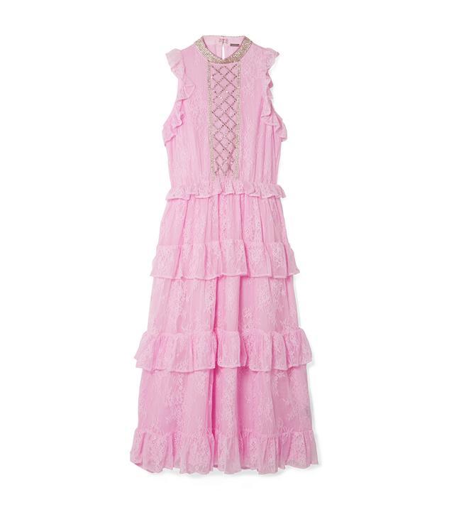 Ruffled Crystal-embellished Lace Midi Dress