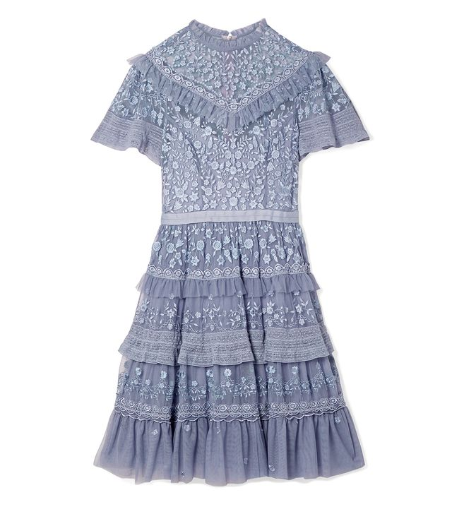 Iris Tiered Lace-trimmed Embroidered Tulle Mini Dress