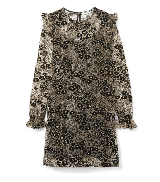 Glittered Flocked Corded Lace Mini Dress