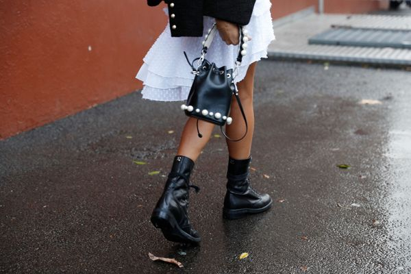 STYLE TIP: Toughen up a white dress with all-black accessories. Bonus points for the pearl detail.